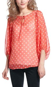 Anthropologie Top Coral and white