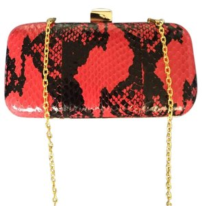 Halston Removable Chain Strap Gold Hardware Snake Leather Wedding Red/Black Clutch