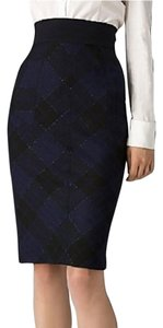 Diane von Furstenberg Blue Pencil Dvf Wool Plaid Skirt Navy Blue