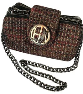 Henri Bendel Tweed Chain Strap Zip Pockets Shoulder Bag