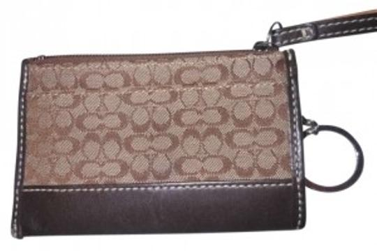 Coach Wristlet in Tan with C