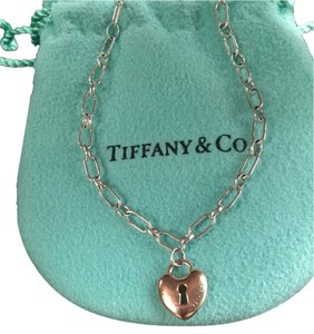 Tiffany & Co. Tiffany And Company Silver Bracelet With Rose Gold Mini Lock