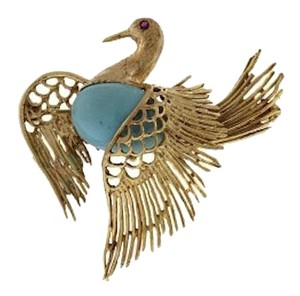 Other 18k Yellow gold Turquoise & ruby swan pin/brooch