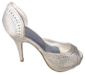David's Bridal Rhinestone Encrusted Formal Heels Toe White Pumps