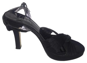 Sam & Libby & High Heel Adjustable Strap Peep Toe Black Sandals
