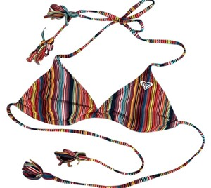 Roxy Triangle Striped Tassel Bikini top