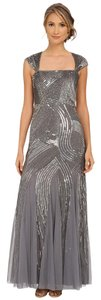Adrianna Papell Silver Metallic Beaded Bridesmaid Gown Dress