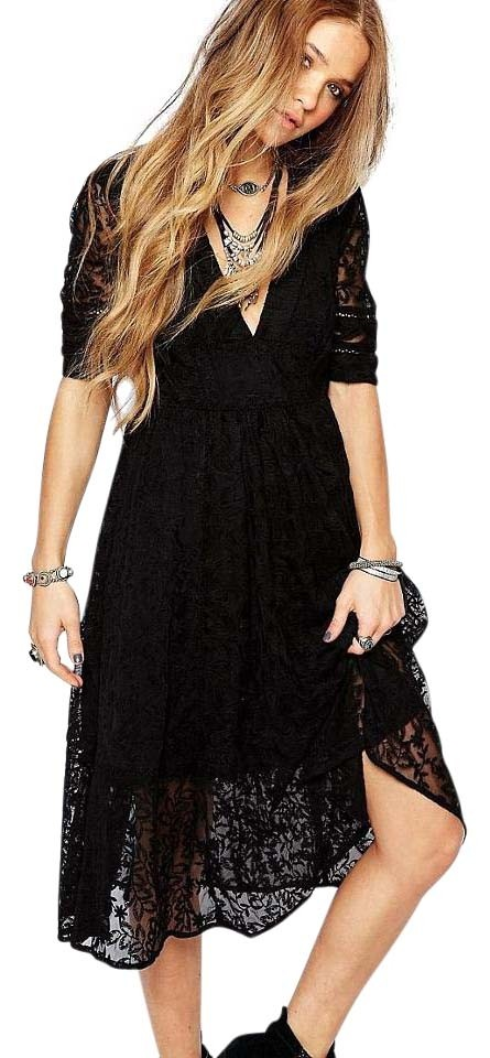 Free People Black Mountain Laurel Lace Long Short Casual Dress Size ... 5ecefe98478b