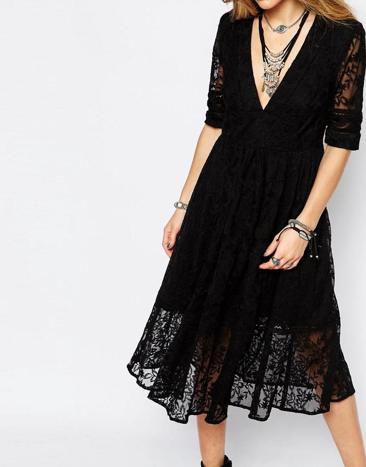 Free People Black Mountain Laurel Lace Long Short Casual Dress Size 4 (S) -  Tradesy 559663c26