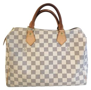 Louis Vuitton Canvas Speedy 30 Satchel in Damier Azur