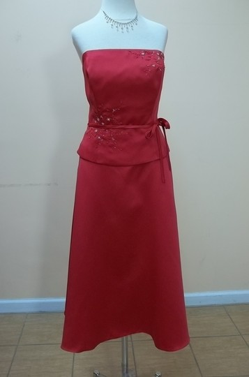 Alyce Paris Cherry Red Satin Cayman Blue 1141 Formal Bridesmaid/Mob Dress Size 12 (L)