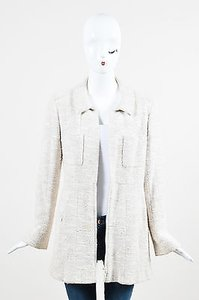 Chanel Vintage Metallic Wool Blend Long Structured Beige Jacket