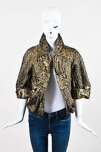 St. John John Collection Metallic Brocade Gathered Collar Gold Jacket