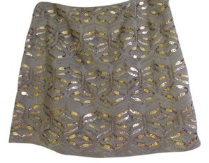 Elie Tahari Sequined Silk Mini Skirt Gray