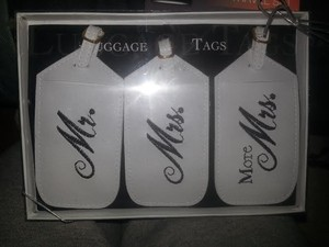 White Mr/Mrs Tags Luggage