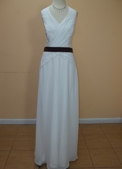 Alyce Paris Ivory/Espresso Chiffon 1211 Formal Bridesmaid/Mob Dress Size 14 (L)