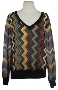 Missoni for Target Womens Chevron Top Black, Brown, Gray, White