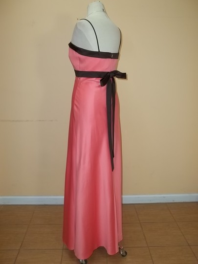 Alyce Paris Coral/Espresso Satin / 1213 Formal Bridesmaid/Mob Dress Size 14 (L)