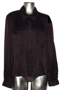 Emanuel Ungaro Silk Military Button Down Shirt Brown
