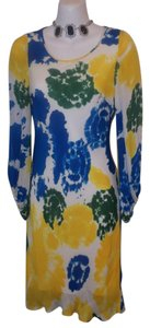 Alice + Olivia short dress Blue Yellow Floral Silk Shift on Tradesy