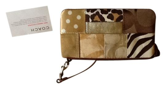Coach Gold, brown, white Clutch