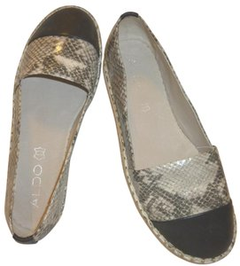 ALDO Snakeskin New Leather Black and White Flats