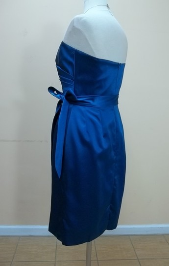 Dessy Ocean Blue Satin 2841 Formal Bridesmaid/Mob Dress Size 6 (S)