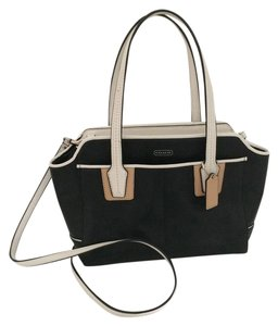 Coach Satchel in Black with chalk and tan trim
