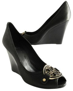 Tory Burch Amanda Tumbled Leather Open Toe Black Wedges