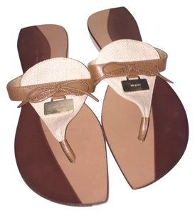 Kate Spade Charisma Flip Flops Brown Tan Sandals