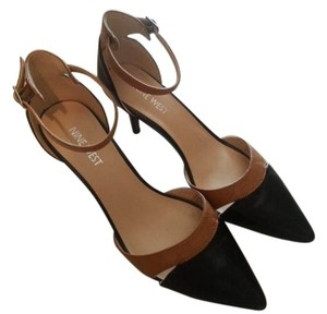 Nine West Agata Ankle Strap Leather Black and Brown Pumps