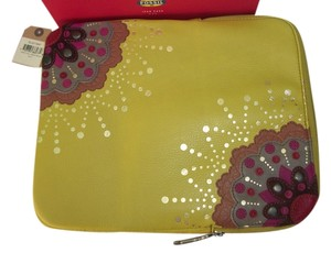 Fossil New! $85 Fossil Applique Leather Tablet iPad Case Cover Floral Bright Multi Pockets