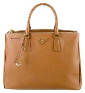 Prada Saffiano Leather Lux Double Zip Tote in Cognac
