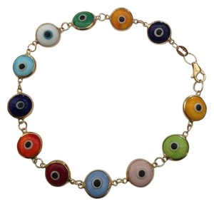 SMK 14K Yellow Gold Multicolor Evil Eye Bracelet