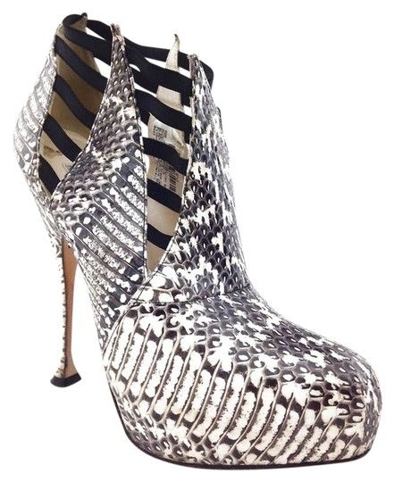 Brian Atwood Bootie Boot Black and White Flats