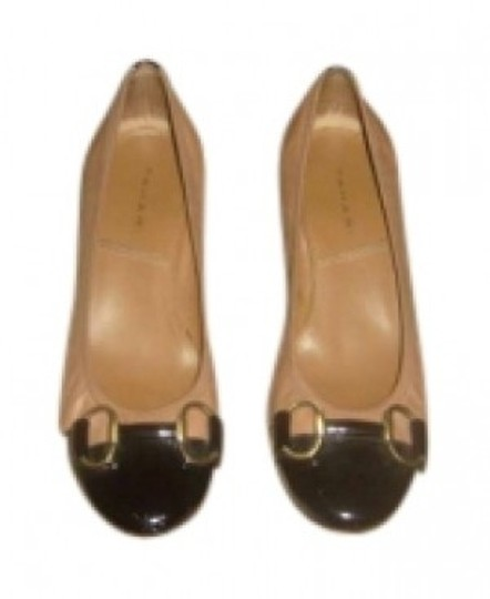 Elie Tahari Tan and Black Flats