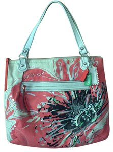 Coach Coral Large Tote in multi color poppy