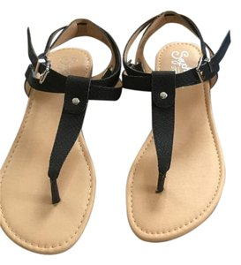 Seychelles Leather Thong Sandal Black Sandals
