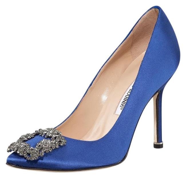 """Item - Blue Satin 'hangisi' Jeweled Pump The """"Carrie"""" Formal Shoes Size US 12 Regular (M, B)"""