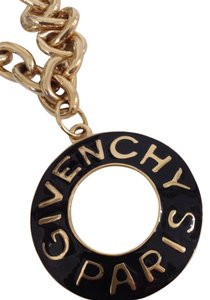 Givenchy Vintage Givenchy Large Runway Statement Black Enamel Pendant Signed Necklace