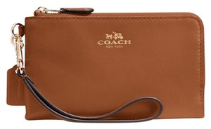 Coach Double Corner Zip Leather Wristlet in Saddle Brown