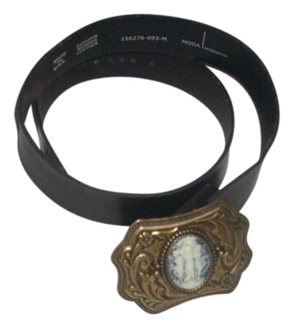 Item - Black New Bonded Genuine Leather Cameo Size M Belt