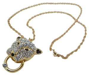 Other New Trend Leopard Head Full of Diamond Pendant Long Necklace!