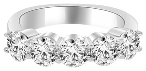 Avi and Co 2.90 cttw Round Brilliant Cut Diamond Five Stone Wedding Band 14K White Gold