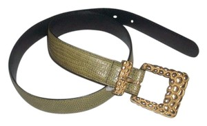Henri Bendel New Green Genuine Leather Snake Embossed Gold Buckle Belt Size S