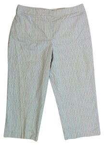 Croft & Barrow Petite Striped Stretchy Capris Blue & white