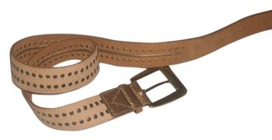 Michael Kors Pre Own Tan Studded Leather Buckle Belt Size M