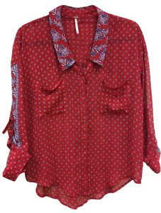 Free People Top red and paisley