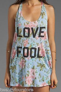 Wildfox Couture Love Fool Floral Print Indian Tank Open Back T Shirt Multi-Color