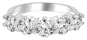 Avi and Co 3.88 cttw Round Brilliant Cut Diamond Five Stone Wedding Band 14K White Gold